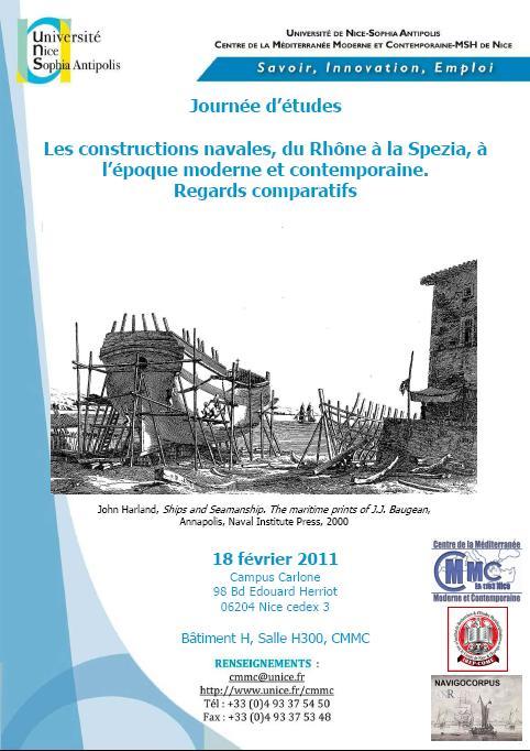 """Journée d'études Navigocorpus """"Constructions navales"""", 18 février 2011"""